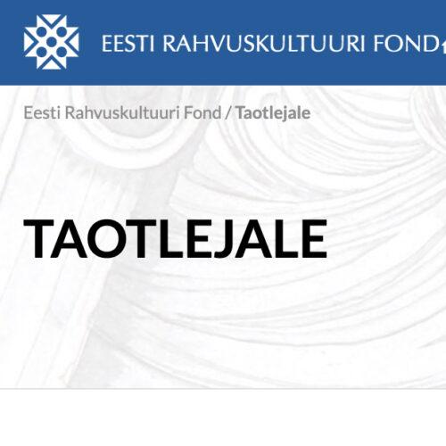 Eesti Rahvuskultuurifond taotlus