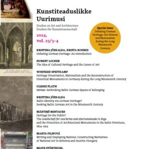 """Ilmus Kunstiteaduslikke Uurimusi erinumber """"Debateerides Saksa pärandi üle. Kunstiteadus ja rahvuslus pikal 19. sajandil""""."""