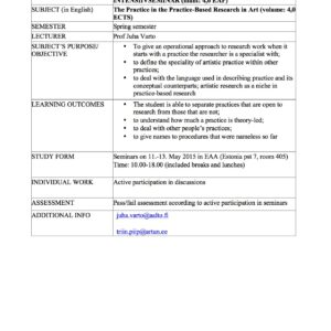 Metodoloogia intensiivseminar 11.-13. mai 2015