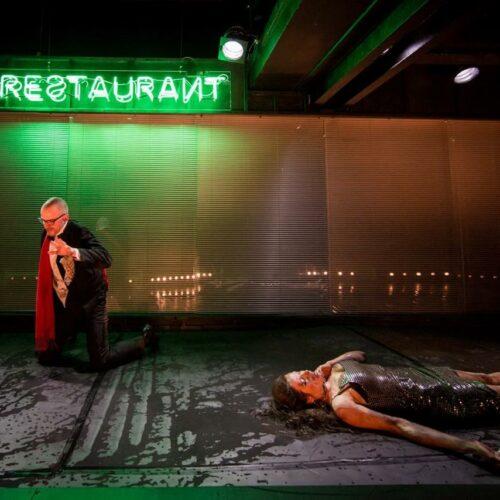 Scene from Drunk, stage design by Lilja Blumenfeldt. Photo: Ülar Mändmets, Theatric