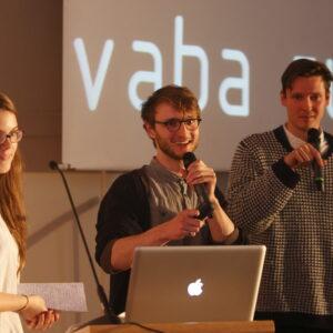 Vaba ruum autorid. Vasakult Johanna Jõekalda, Siim Tuksam, Johan Tali. Foto Reio Avaste