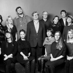 Seated from left: Karin Gross, Kirke Kangro, Anne Pikkov, Solveig Jahnke, Lia Toro. Standing from left: Maria Jäärats, Kristiina Krabi-Klanberg, Sandra Mell, Kristjan Mändmaa, Mart Kalm, Toomas Tammis, Urve Sinijärv, Andres Tammsaar, Lilian Hansar, Eve Põldsaar. Photo by Mark Raidpere 2016