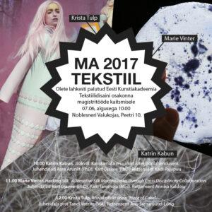 KUTSE lõputööde kaitsmisele EKA tekstiilidisaini osakonnas 2017
