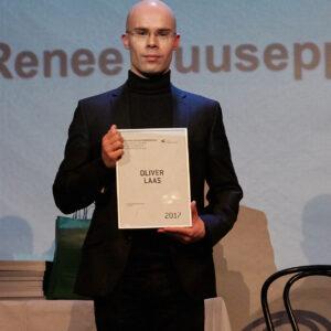 Teaduspublikatsioonipreemia sai graafika dotsent, nooremteadur Oliver Laas. Foto: Martin Buschmann, 2017