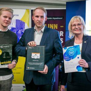 Vasakult: Kevin Laus, Martin Nõlve  ja Loov Eesti juht Eva Leemet. Foto: Harri Tiits