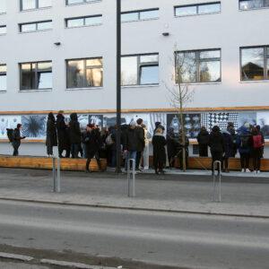 Näituse Graafilised viirastused avamine EKA väligaleriis, 2019. Juhendaja: Mirjam Reili.