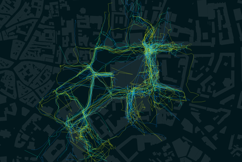 Pedestrian movement in Tallinn city centre, ongoing research project, 3D Lab, Damiano Cerrone, Renee Puusepp